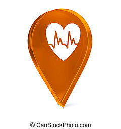 Cardiology - Glass GPS marker icon with white health care...