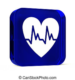 Cardiology - Glass button icon with white health care sign...