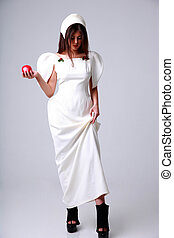 Full length portrait of attractive fashion woman in white dress