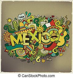 Mexico hand lettering and doodles elements background....