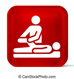 Physical Therapy - Glass button icon with white health care...