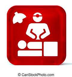 Surgical Procedure - Glass button icon with white health...