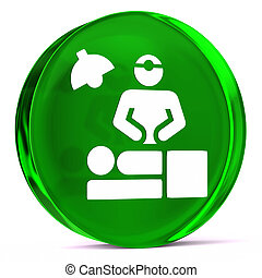 Surgical Procedure - Round glass icon with white health care...