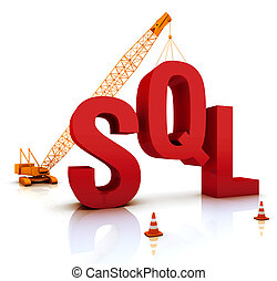 SQL Coding - Construction site crane building a blue SQL 3D...