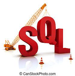 SQL Coding - Construction site crane building a blue SQL 3D...