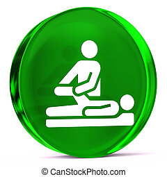 Physical Therapy - Round glass icon with white health care...