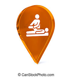 Physical Therapy - Glass GPS marker icon with white health...