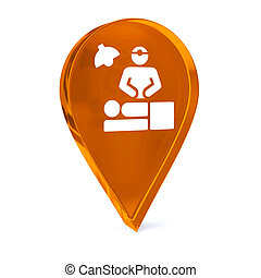 Surgical Procedure - Glass GPS marker icon with white health...