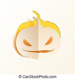 Pumpkin cut out of paper - White pumpkin paper cut out from...