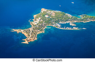 Greek Islands with birds-eye view of the bay with yachts