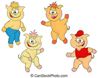 Four funny cartoon piglets - Set of four small funny...