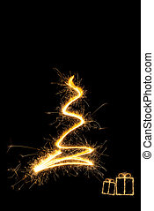 Merry Christmas. - Merry christmas. Sparkling firework...