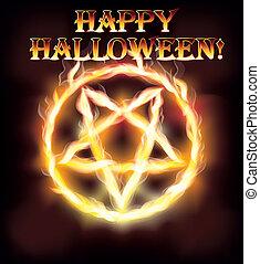 Fire happy halloween pentagram, vector illustration
