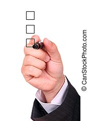 List of checkboxes and hand with pen on white background