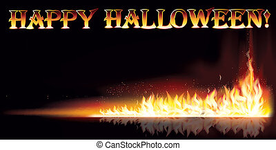 Fire happy halloween banner, vector illustration