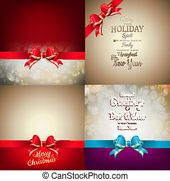 Christmas decoration Set - ribbon bow with bokeh. EPS 10...