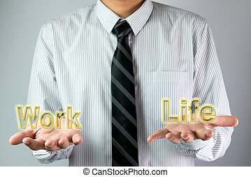 Balance between work and life - Businessman with open hands...