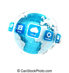3d earth with applications icons, isolated white background,...