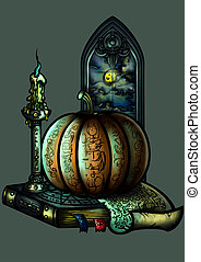 Halloween emblem with a pumpkin a candle a book and a window...