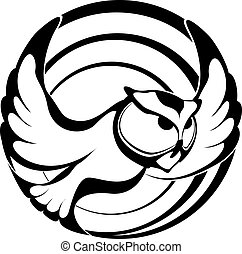Owl in Spirals - Owl graphic in midst of spiral circles.