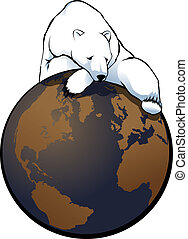 Global Warming Polar Bear - illustration of a polar bear...
