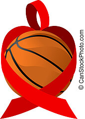 Red Ribbon Basketball Heart - illustration of a heart health...
