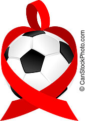 Heart Ribbon Soccer Ball or Football
