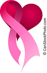 Pink Ribbon Heart - Pink ribbon on a heart.