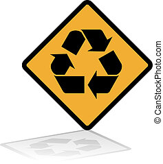 Recycle Warning Sign - Warning sign with the recycle symbol...