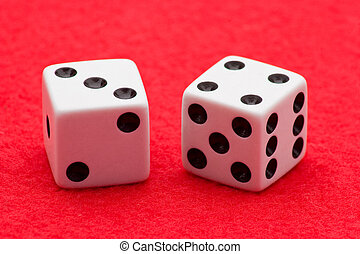 Craps - Horizontal Photo of Two white dice with black dots...