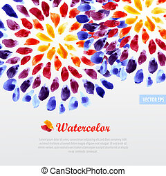 Watercolor template colorful rainbow brushstrokes -...