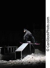 Estilo libre, snowboarder, salto, Aire, noche