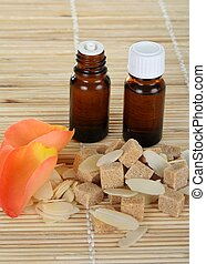 bottles of essential oil, composition of quot;brown sugar...