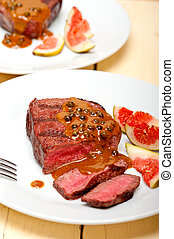 green peppercorn beef filet mignon - beef filet mignon with...