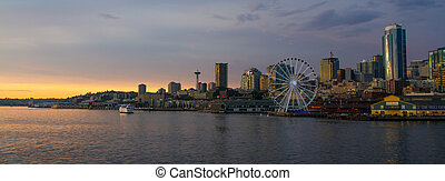 Downtown Seattle - Horizontal Dusk shot of downtown Seattle