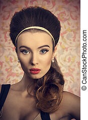Girl with big hair bun - Short portrait of young, beautiful...