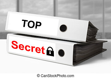 office binder top secret documents lock symbol - stack of...