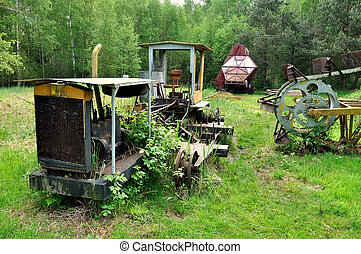 Old machine is broken in marshland in tne South Bohemian.