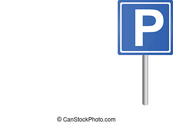 Parking traffic sign on pole, vector