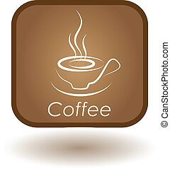 advertisement for coffee, restaurant, button for website,...