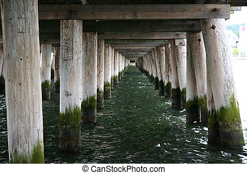Pier on the Sea, wooden pillars