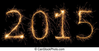Number 2015 written with a sparkler (aggregated from fotos).