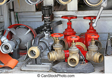Sleeve valves and fire lances of trucks of firefighters...