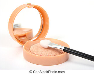 bright make-up eye-shadows and cosmetic brush
