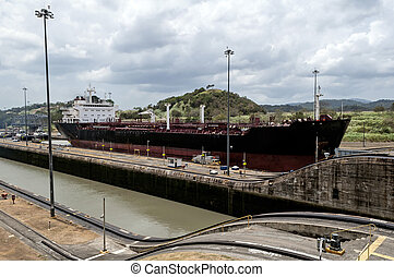 Ship at the Panama Canal - Transport ship at the Miraflores...