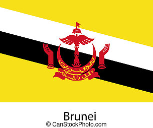 Flag of the country brunei. Vector illustration. Exact...
