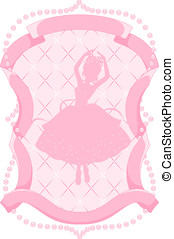 Pink frame with a ballerina - Beautiful pink frame with...