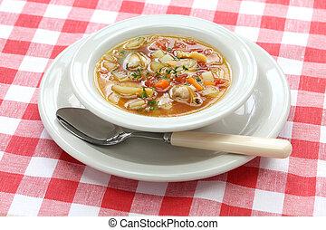almeja, Sopa de pescado,  Manhattan