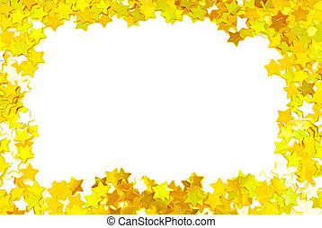 golden confetti  frame border space isolated on white