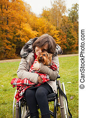 tenderness - woman in a wheelchair with a Yorkshire Terrier...